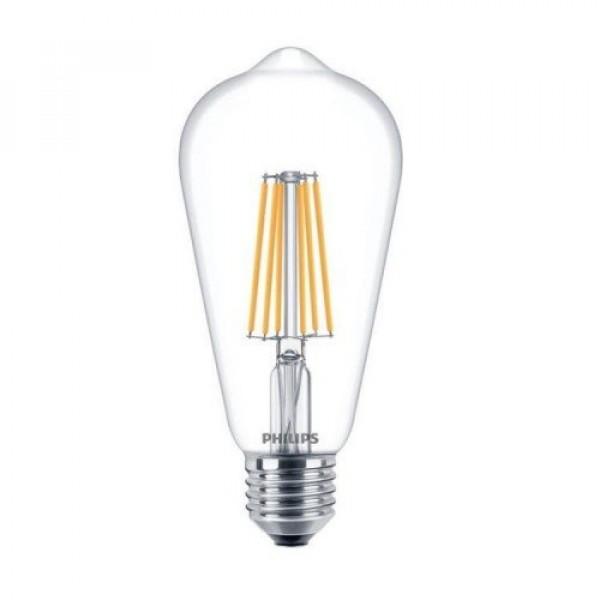 LED lámpa , égő , izzószálas hatás , filament , E27 foglalat , Edison , 8 Watt , 2200-2700K , dimmelhető , Philips DimTone