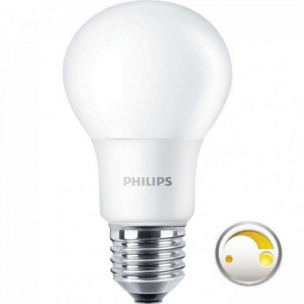 LED lámpa , égő , körte , E27 , 8.5 Watt , 2200-2700K , dimmelhető , Philips DimTone