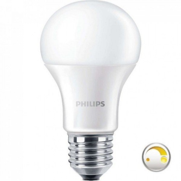 LED lámpa , égő , körte , E27 , 11 Watt , 2200-2700K , dimmelhető , Philips DimTone