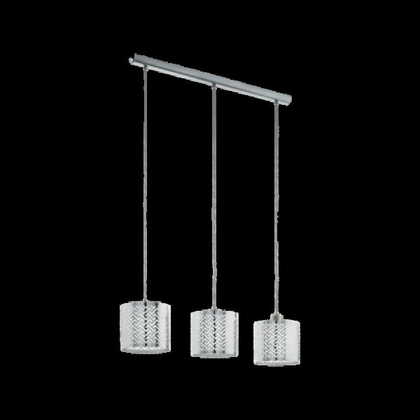 LED lámpa függeszték , mennyezeti , 3 x E27 , matt nikkel , króm , EGLO , LEAMINGTON 1 , 49166