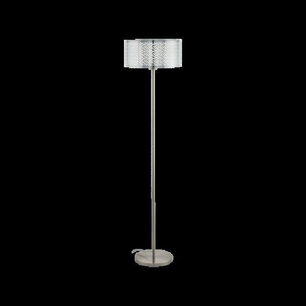 LED lámpa , állólámpa , E27 , matt nikkel , króm , EGLO , LEAMINGTON 1 , 49168