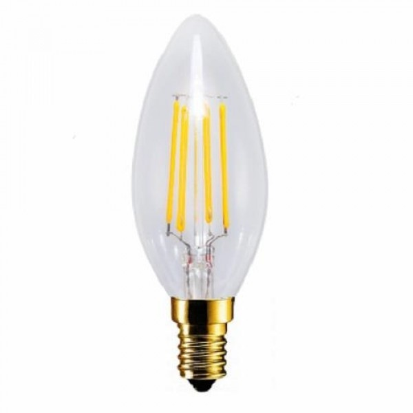 LED lámpa , égő , izzószálas hatás , gyertya , E14 foglalat , 6 Watt , 300° , meleg fehér