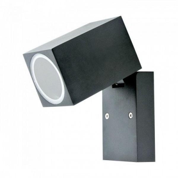 LED lámpatest , GU10-es foglalatú , oldalfali , négyzet , állítható fejű , fekete , IP44 , Optonica