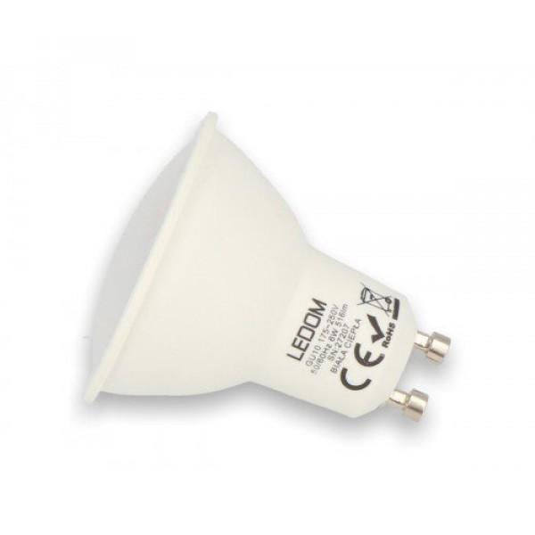 LED lámpa , égő , szpot , GU10 foglalat  , 120° , 6 Watt , természetes fehér , LEDOM