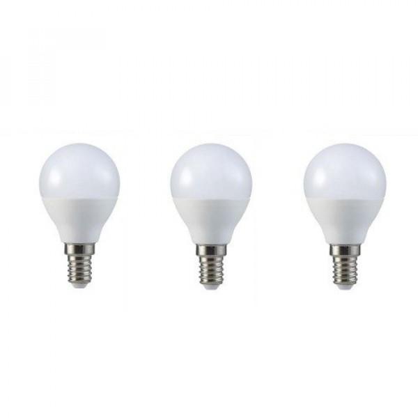 LED lámpa , égő , kis gömb , E14 foglalat , 5.5 Watt , természetes fehér , 3 darabos csomag