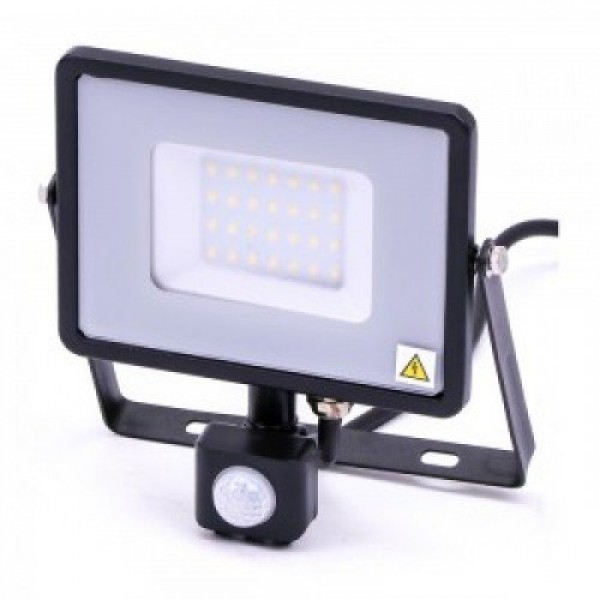 LED reflektor , 30 Watt , mozgásérzékelős , meleg fehér , SAMSUNG chip , 5 év garancia , fekete