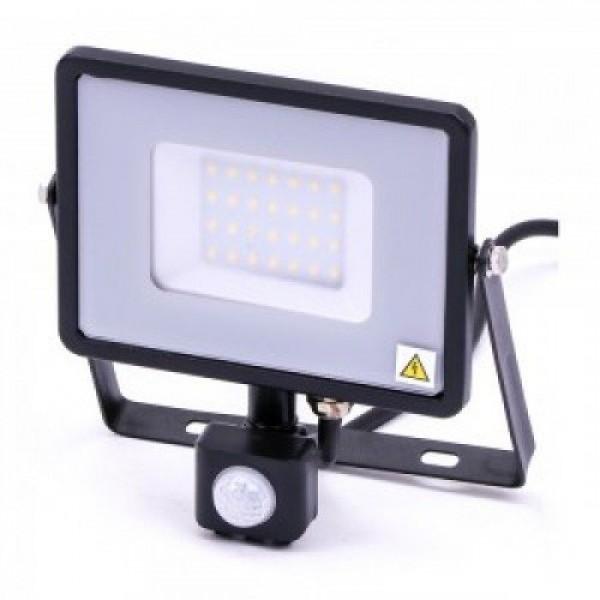 LED reflektor , 30 Watt , mozgásérzékelős , természetes fehér , SAMSUNG chip , 5 év garancia , fekete