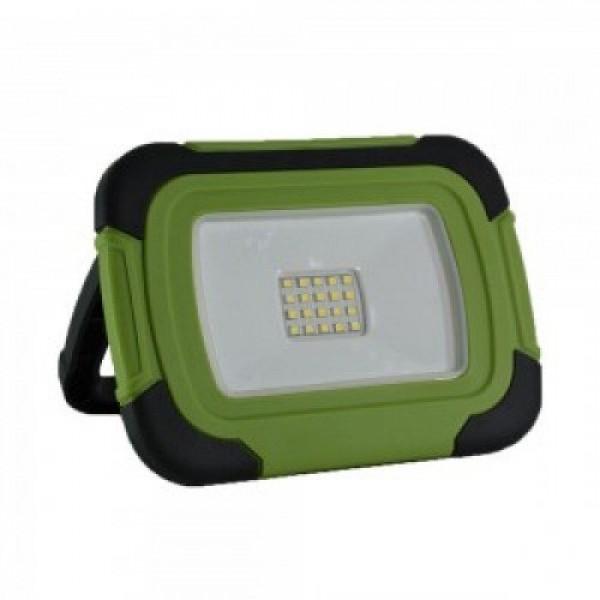 LED reflektor , 10 Watt , hordozható , akkumulátoros , USB ,  hideg fehér , SAMSUNG chip , IP44 , fekete-zöld
