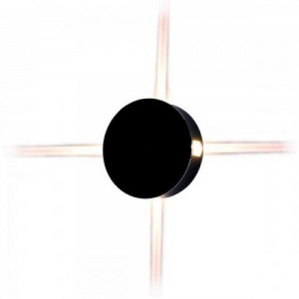 LED lámpatest , oldalfali , kerek , 4 irányú , 4W , meleg fehér , fekete , kültéri , IP65
