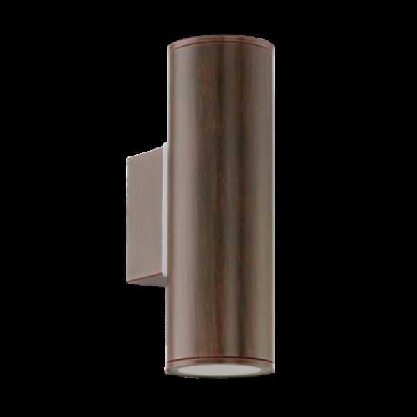 LED lámpatest , GU10 , 2x3W , oldalfali , kerek , 2 irányú , antik barna , kültéri , IP44 , EGLO , RIGA , 94105