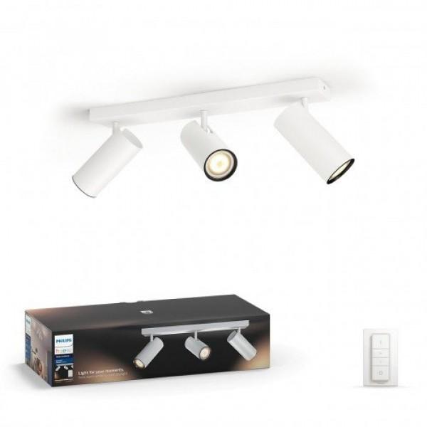Led lámpatest , Philips Hue , Buratto , mennyezeti , spot , (3 x 5.5W GU10 + DIM Switch fényerőszabályozó) ,  CCT , dimmelhető , fehér