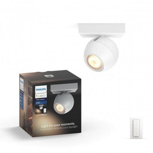 Led lámpatest , Philips Hue , Buckram , mennyezeti , spot (1 x 5.5W GU10 + DIM Switch fényerőszabályozó) , CCT , dimmelhető , fehér