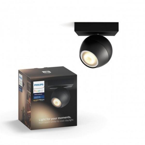 Led lámpatest , Philips Hue , Buckram , mennyezeti , spot , 1 x 5.5W GU10 , CCT , dimmelhető , fekete
