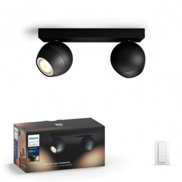 Led lámpatest , Philips Hue , Buckram , mennyezeti , spot (2 x 5.5W GU10 + DIM Switch fényerőszabályozó) , CCT , dimmelhető , fekete