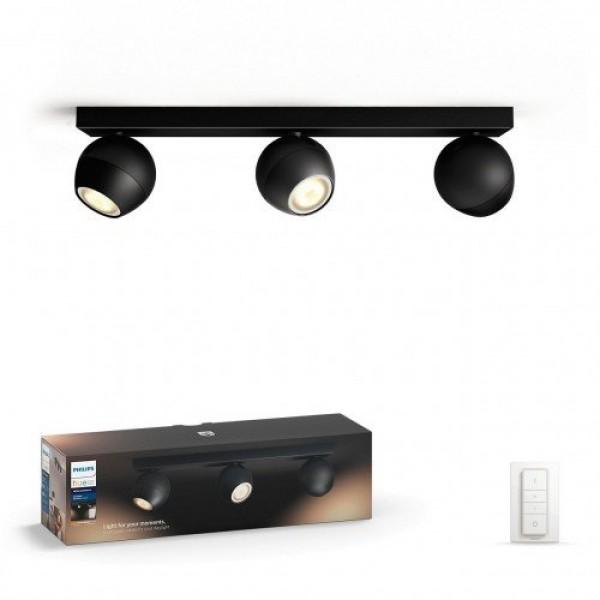 Led lámpatest , Philips Hue , Buckram , mennyezeti , spot (3 x 5.5W GU10 + DIM Switch fényerőszabályozó) , CCT , dimmelhető , fekete