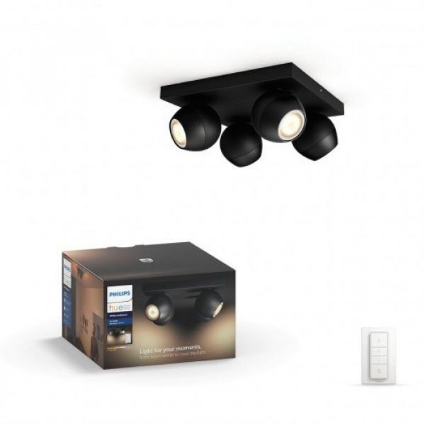 Led lámpatest , Philips Hue , Buckram , mennyezeti , spot (4 x 5.5W GU10 + DIM Switch fényerőszabályozó) , CCT , dimmelhető , fekete
