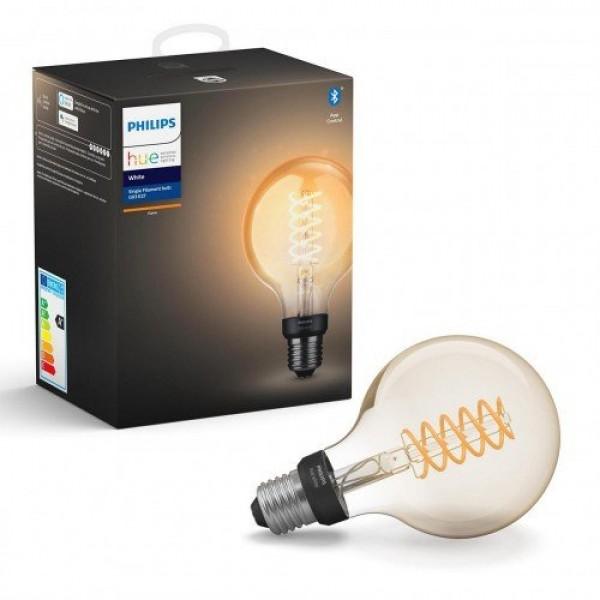 LED lámpa , égő , Philips Hue , izzószálas hatás , filament , gömb , E27 foglalat , G93 , 7W , meleg fehér , dimmelhető , Bluetooth