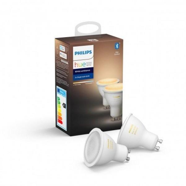 LED lámpa , égő , Philips Hue , 2PACK (2 x GU10 5.5 W) , CCT , dimmelhető , Bluetooth