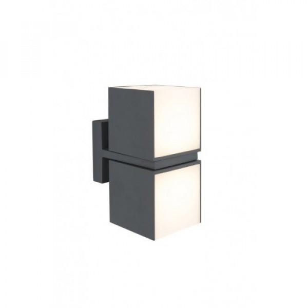 LED lámpatest , oldalfali , 2 irányú , 15W , meleg fehér , fekete , kültéri , IP54 , LUTEC , CUBA