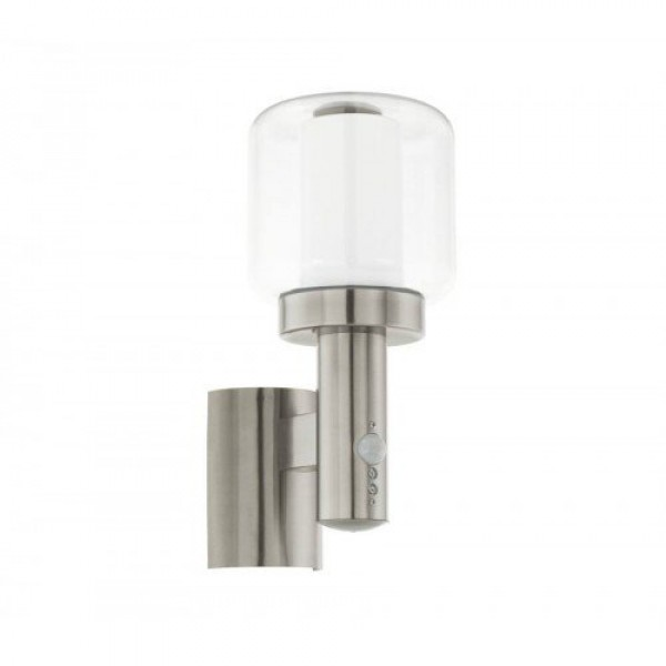 LED lámpatest , kültéri , oldalfali , mozgásérzékelős , E27-es foglalatú , nemesacél , IP44 , EGLO , POLIENTO , 95017