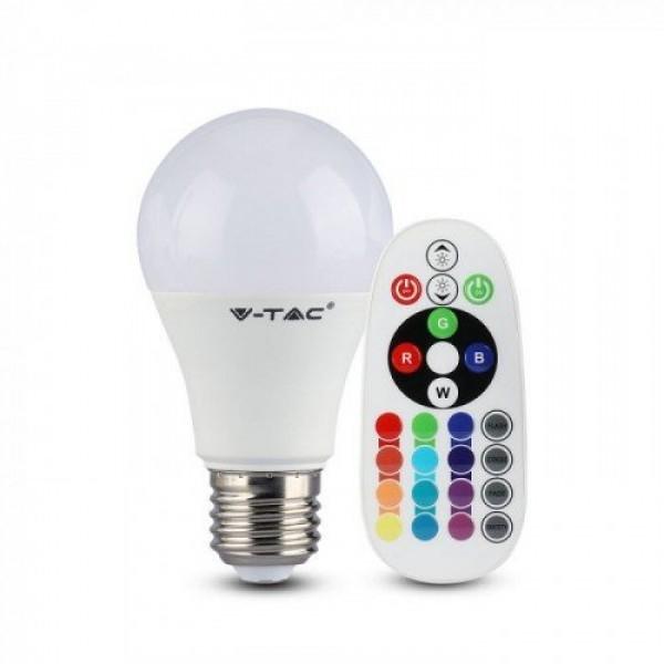 LED lámpa , égő , körte , E27 , 9W , dimmelhető , RGBW , W=meleg fehér , távirányítóval
