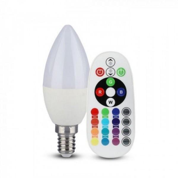 LED lámpa , égő , gyertya , E14 , 3.5W , dimmelhető , RGBW , W=meleg fehér , távirányítóval
