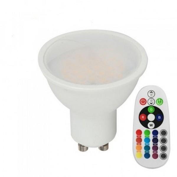 LED lámpa , égő , szpot , GU10 , 110° , 3.5W , dimmelhető , RGBW , W=természetes fehér , távirányítóval