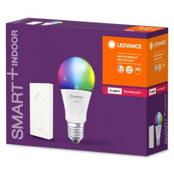 LED lámpa , égő , Ledvance Smart+ , Mini KIT (E27 10W + Switch Mini dimmer) , RGB , CCT , dimmelhető