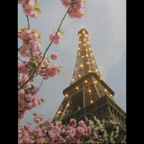 LED dekoráció , vászonkép beépített LED világítással , 30 x 40 cm , Eiffel-torony