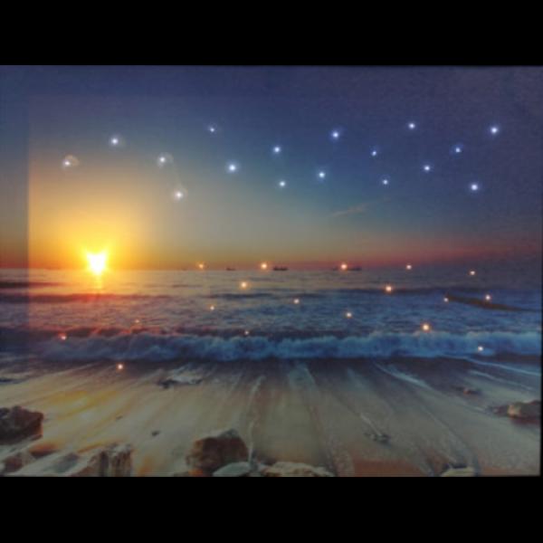 LED dekoráció , vászonkép beépített LED világítással , 30 x 40 cm , tengerpart