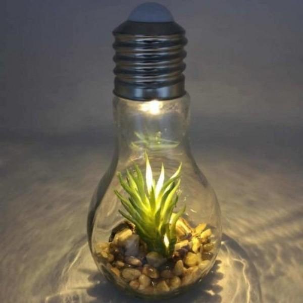 LED dekoráció , beltéri , 3 db nano LED , meleg fehér , LED izzó forma virág dekorációval , elemes
