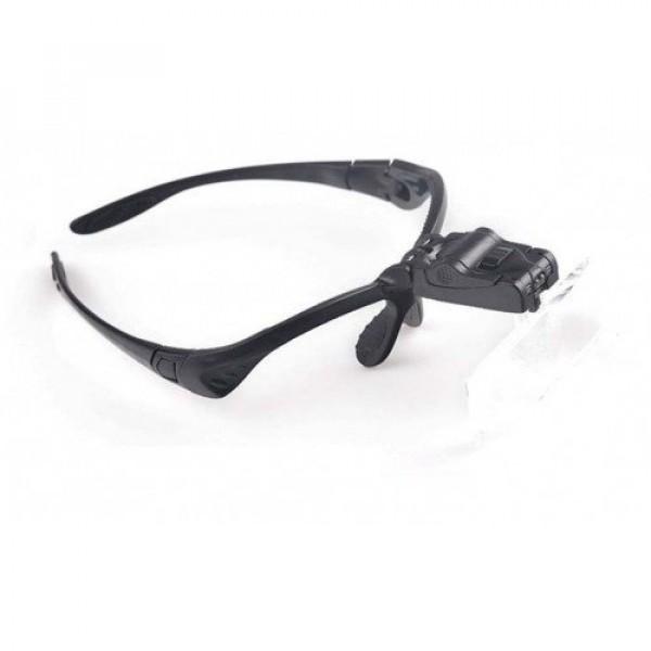Nagyító szemüveg , 1,0x 1,5x 2,0x 2,5x 3,5x nagyítás , LED fejlámpával , 3 db LR1130 gombelemmel